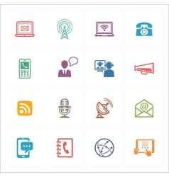 Communication icons set 1 - colored series vector