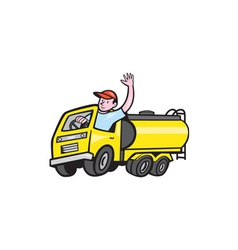 Tanker truck driver waving cartoon vector