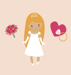 Cute bride character vector