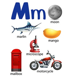 Letter m for moon marlin mango microscope mailbox vector