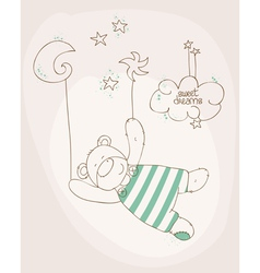 Sleeping baby bear cute card vector