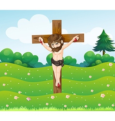 A boy hanging on the cross vector