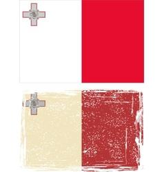 Maltese grunge flag vector