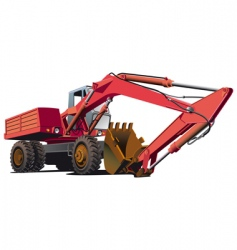 Old-fashioned excavator vector