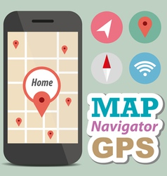 Navigator concept smart phone with icon vector