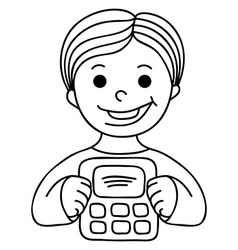 Smiling boy with calculator vector