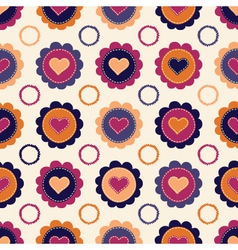 Seamless pattern with hearts and flowers vector