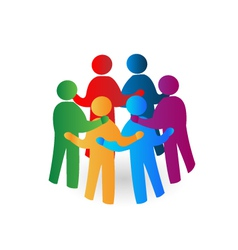 Teamwork meeting people logo vector