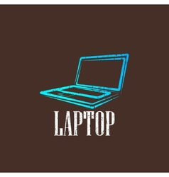 Vintage with a laptop vector