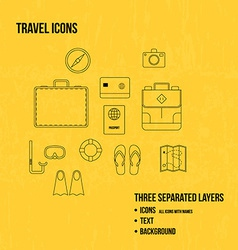 Travel objects thin line icons set vector