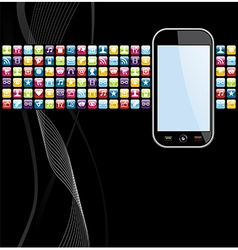 Mobile phone apps icons background vector