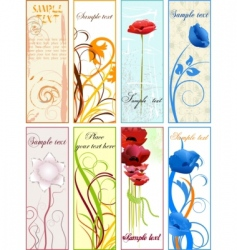 Vertical floral banners or bookmarks vector