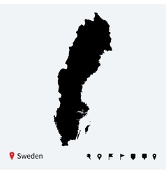 High detailed map of sweden with navigation pins vector