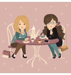 Two fashion girls chatting at a cafe vector