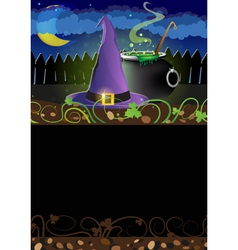 Witch hat and cauldron vector