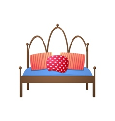 Beautiful double bed in a realistic style vector