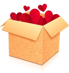Ornate open box with red paper hearts inside vector