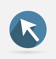 Circle blue icon with shadow web arrow vector