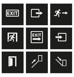 Black exit icon set vector