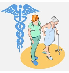Isometric healthcare people set - senior patient vector