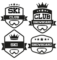 Set of vintage ski and snowboard club badge label vector