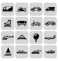 Transport icons black set vector
