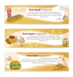 Banner set of vintage fast food backgrounds vector