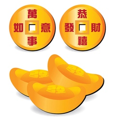Chinese fortune coins vector