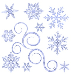 Watercolor snowflakes vector