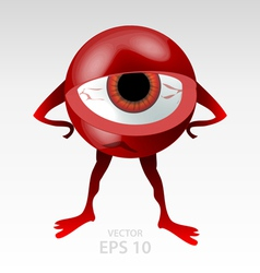 Red angry eyeball mascot vector
