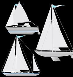 Set sailing boat floating vector