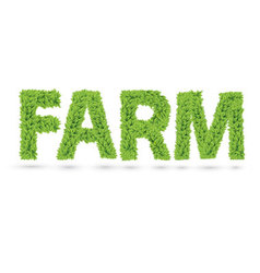 Farm word made of green leafs vector