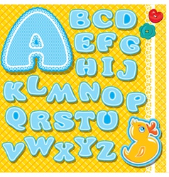 Chidish alphabet - letters are made of blue lace vector