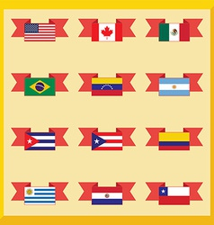 Flat flags north and south america vector