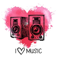 Music background with splash watercolor heart vector