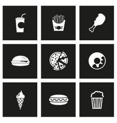 Black fast food icon set vector