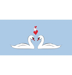 Loving couple of swans vector