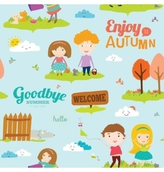 Autumn pattern with happy smiling kids vector