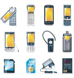 Mobile phones icon set vector