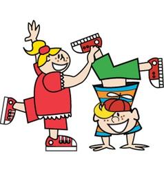 Boy and girl playing vector