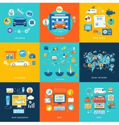 Car service car wash social media online shop vector