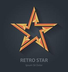 Flat color 3d retro star logo sport international vector