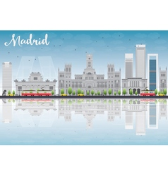 Madrid skyline with grey buildings vector