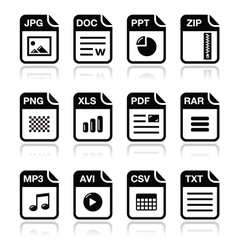 File type black icons with shadow set - zip pdf vector
