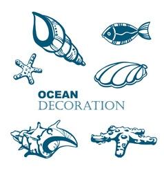 Set of ocean decoration vector