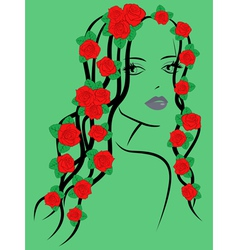 Fashionable girl with roses on hair vector