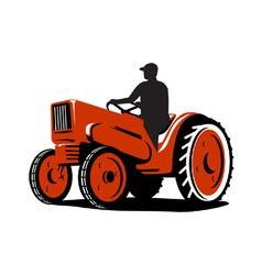 Farmer driving vintage tractor retro vector