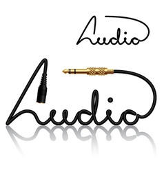 Jack connectors audio calligraphy vector