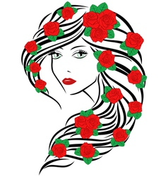 Fashionable women with roses on hair vector