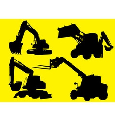 Construction vehicles silhouettes vector